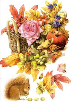 Artist ~ Marjolein Bastin -  autumn basket from September 2009 Calendar
