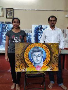 Buddha Drawing, Ganesha Drawing, Ganesha Painting, Madhubani Painting, Buda Painting, Love Canvas Painting, Indian Art Paintings, Modern Art Paintings, Budha Art