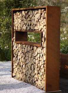 You want to build a outdoor firewood rack? Here is a some firewood storage and creative firewood rack ideas for outdoors. Outdoor Firewood Rack, Firewood Storage, Outdoor Storage, Outdoor Shelves, Garden Dividers, Stacking Wood, Shed Floor, Storage Design, Storage Ideas