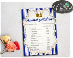 Our new product: Royal Baby Shower.... Check it out here: http://snoopy-online.myshopify.com/products/royal-baby-shower-boy-animal-gestation-game-with-gold-crown-and-royal-blue-color-theme-digital-files-pdf-jpg-instant-download-rp001