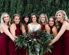 "3,339 Likes, 41 Comments - Wedding Chicks® (@weddingchicks) on Instagram: ""Deep red bridesmaids dresses 😍 👗 Coordinator, stylist, paper goods @hammersandlace • • •…"""