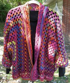 Crochet Hexagon Cardi, adult size.