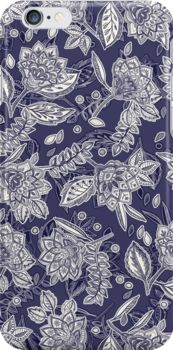 Decorative Floral Doodle Pattern in Navy by micklyn