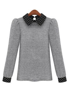 Lady Style Dot Print Shirt Collar Grey Sweaters