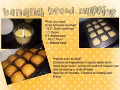 Banana Bread Muffins in your Pampered Chef Brownie Pan! Shop here; www.pamperedchef.biz/jenvecchiarelli
