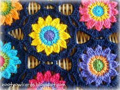 tangled happy: Sunny Flowers Motif...join as you go crochet....free tutorial and pattern!