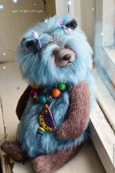 Buy Forget-me-not... Collectible bear style Teddy - cornflower, blue color, bear