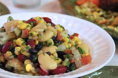 Mediterranean Three Bean and Corn Salad - fresh and healthy vegetarian dish!  #Mediterranean #3beansalad #salads