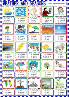 The weather interactive and downloadable worksheet. You can do the exercises online or download the worksheet as pdf.