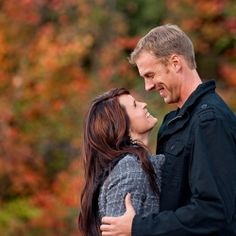 Look at this Bokeh and gorgeous fall colors...a blended family engagement session at Snowbasin a mountain resort in Utah.
