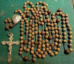 """Antique-VERY-LGE-56"""" WOOD-BEADS-15-DECADES-FULL-ROSARY-OF-LOURDES"""
