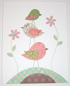 Shop for on Etsy, the place to express your creativity through the buying and selling of handmade and vintage goods. Baby Girl Nursery Decor, Baby Decor, Nursery Art, Art Wall Kids, Art For Kids, Diy And Crafts, Crafts For Kids, Motif Art Deco, Bird Quilt