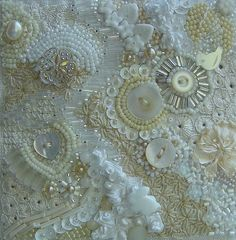 beads and buttons/ could I create the same look with salvaged doily's and old buttons?