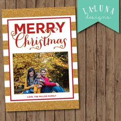 Christmas Card, Photo Christmas Card, Gold Stripe, Merry Christmas, Happy Holidays, Holiday Card, DIY Printable Christmas Card