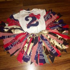 Country Chic Rag Tutu With Personalized Farmer Girl Onesie Birthday Outfit - pinned by pin4etsy.com
