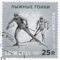 Postage stamp for 2014 Winter Olympics in Sochi cross country skiing