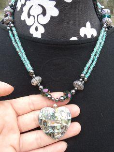 Abolone heart necklace  www.etsy.com/shop/meandjpsjewelry