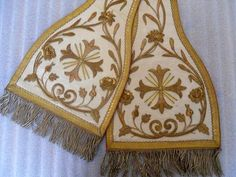ANTIQUE FRENCH EMBROIDERY RELIGIOUS STOLE 19 TH-CENTURY PRIEST CHURCH
