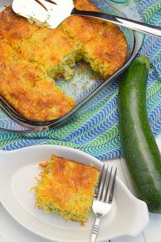 Cheesy Zucchini Cornbread Casserole - Who Needs A Cape? Zucchini Cornbread, Cheesy Cornbread, Cornbread Casserole, Casserole Recipes, Crockpot Recipes, Cornbread Recipes, Zucchini Bread Recipes, Potato Recipes, Veggie Recipes