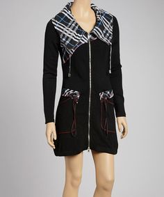 Take a look at this Black Plaid Drawstring Tunic Dress by Fantazia on #zulily today $68 !!