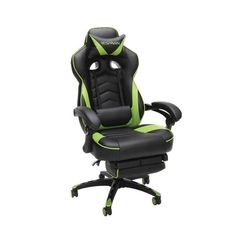 Respawn 110 Racing Style Reclining Gaming Chair with Footrest - On Sale - Overstock - 22848763 - Black Gamer Chair, Desk Chair, Gaming Furniture, Gaming Desk, Office Furniture, Adjustable Height Desk, Gamer Room, Support Pillows, Ergonomic Chair