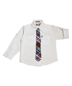 Loving this White Pocket Button-Up & Plaid Tie - Infant, Toddler & Boys on #zulily! #zulilyfinds
