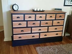 Large Teak chest of drawers, refinished in matte onyx and natural top/drawer fronts.  Facebook.com/bevelled.edge