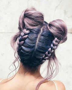 Lavender Hair. Braids. Two buns. Short hair, long hair, braids. Hair & Beauty inspiration blonde, bobs, buns, brunette, hair inspiration, hair styles, blonde hair, curly hair, hair style ideas.