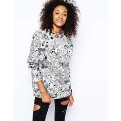 Monki Comic Printed Sweat Top ($57) ❤ liked on Polyvore featuring tops, hoodies, sweatshirts, white, patterned sweatshirt, crew-neck sweatshirts, monki, white cotton tops and comic book