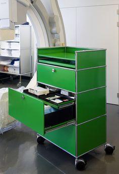 USM Haller drawer in USM green. www.usm.com