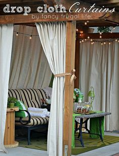 Use Painter's drop cloths on back porch as curtain privacy~~~