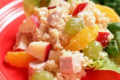 Couscous Salad with Chicken and Fruit.Tender bite-size pieces of chicken breast and fruit add savory and sweet to this tasty couscous salad. Couscous Recipes, Couscous Salad, Kraft Recipes, Roast Pork With Vegetables, Chicken Potato Salad, Slow Cooker Stuffed Peppers, How To Cook Quinoa, Recipe Images, Original Recipe