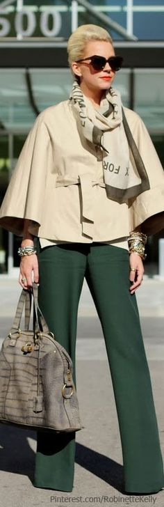Hunter Green and Beige