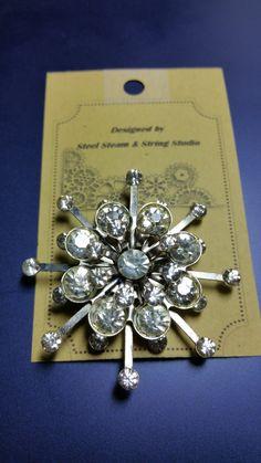 Vintage sunburst rhinestone brooch pin silvertone 1940s antique scatter pin victorian style by SteelSteamString on Etsy
