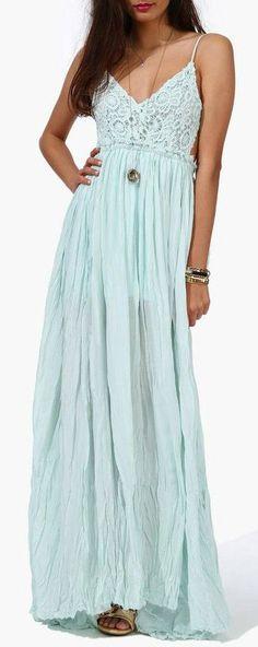 Mint Boho Maxi Dress ♥