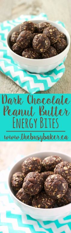 Super healthy and delicious Dark Chocolate Peanut Butter Energy Bites Recipe! Easy to make and a great snack recipe for on-the-go! Especially for Valentine's Day! From www.thebusybaker.ca.