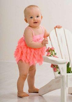 Kate Mack Flamingo Fun Coral Ruffled Baby/Toddler 2 pc Swim Suit