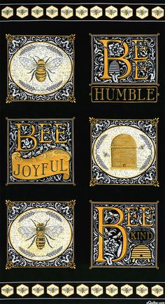 """Bee Joyful Panel - 6 yellow/grey/white/black bee themed pictures on black panel 19870 13 - """"The Quilted Crow Quilt Shop, folk art quilt fabric, quilt patterns, quilt kits, quilt blocks Art And Illustration, Botanical Illustration, Quilt Kits, Quilt Blocks, Bee Fabric, Fabric Shop, Fabric Art, Cotton Fabric, Wall Hanging Designs"""