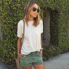 Copiez ce look casual avec un short kaki >> http://www.taaora.fr/blog/post/avec-quoi-porter-short-kaki-tenue-ete-decontractee-casual #outfit #streetstyle