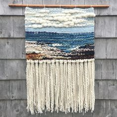 Many thanks to Angela Millett for her support 💕🌊🙏 Ocean View, Terence Bay. X hand woven tapestry made of natural fibres including wool, alpaca, organic cotton/linen and si Weaving Wall Hanging, Weaving Art, Tapestry Weaving, Loom Weaving, Wall Tapestry, Yarn Crafts, Sewing Crafts, Textiles, Weaving Projects