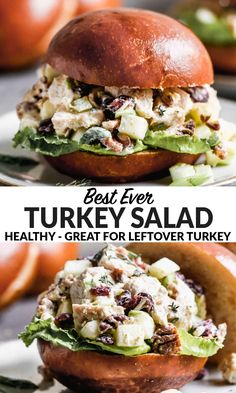 Easy and healthy Turkey Salad with Greek yogurt, cranberries, celery, and apples. Perfect for leftover Thanksgiving turkey or chicken! #wellplatedrecipes #turkeyleftovers #turkeysalad Healthy Eating Recipes, Vegetarian Recipes, Cooking Recipes, Meal Recipes, Apple Recipes, Healthy Cooking, Healthy Meals, Yogurt Chicken Salad, Chicken Curry Salad