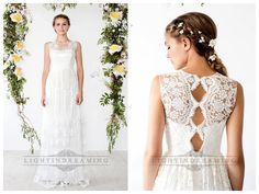 ILLUSION NECKLINE SHEATH LACE OVER WEDDING DRESS WITH KEYHOLE BACK
