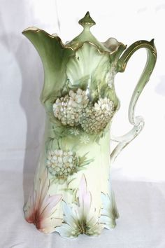 RS Prussia Gorgeous Floral Leaf Mold Chocolate Pot