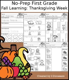 3 Dinosaurs - Fall Learning: First Grade Thanksgiving Week Cursive Words, Cvce Words, Thanksgiving Words, Thanksgiving Activities For Kids, Sixth Grade, First Grade, Short E Words, Making Words, Compound Words