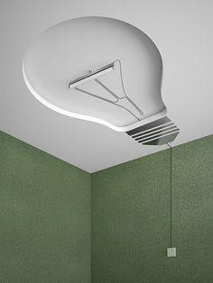 Lol! Bright idea for a ceiling light.