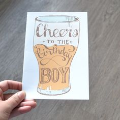 Birthday Card, Cheers to the Birthday Boy illustrated Card, Great for Birthday for Him, Dad, Boyfriend by AMTaylorArt on Etsy https://www.etsy.com/ca/listing/279241320/birthday-card-cheers-to-the-birthday-boy