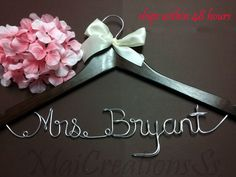 WEEKEND SALE. Personalized Bridal Wedding Hanger. Bridal Hanger. Bridal Party. Custome Hanger. Comes With Bow.. $9.99, via Etsy.