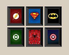 Set of 6 Superhero Prints Superman Batman by SadiesCanvas