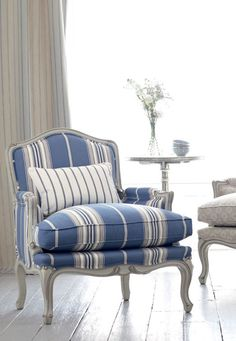 Blue and white chair, French country decor Blue Rooms, White Rooms, Romo Fabrics, Striped Chair, Bergere Chair, French Chairs, Chair Fabric, Striped Upholstery Fabric, Upholstery Fabrics