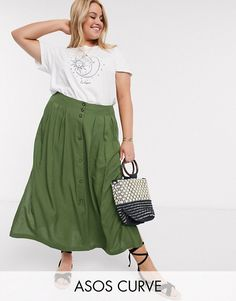 Buy ASOS DESIGN Curve button front midi skirt in khaki at ASOS. Get the latest trends with ASOS now. Maxi Skirt Outfits, Midi Skirt, Midi Rock Outfit, Khaki Skirt, Plus Size Skirts, Khaki Green, Buttons, Clothes, Shopping